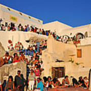 Waiting For The Sunset In Oia Town Poster