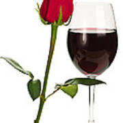 Wine With Red Rose Poster