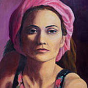 Woman In A Pink Turban Poster