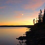 Yellowstone Lake Sunset Poster