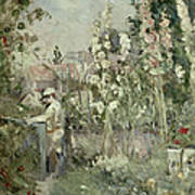 Young Boy In The Hollyhocks Poster