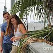 Young Couple Palm Tree Poster