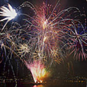2013 Independence Day Fireworks Display On Portland Oregon Water Poster
