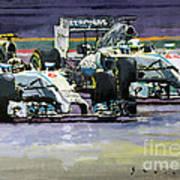 2014 F1 Mercedes Amg Petronas  Lewis Hamilton Vs Nico Rosberg Poster