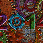 2014 Rusty Gear On Grunge Texture Background Poster