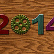 2014 Wooden Gear On Wood Grain Texture Background Poster