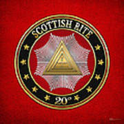 20th Degree - Master Of The Symbolic Lodge Jewel On Red Leather Poster