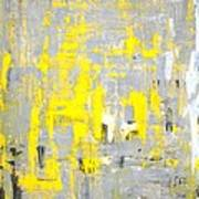 Imagination - Grey And Yellow Abstract Art Painting Poster