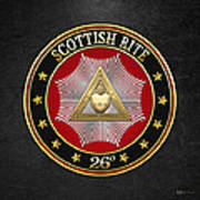 26th Degree - Prince Of Mercy Or Scottish Trinitarian Jewel On Black Leather Poster