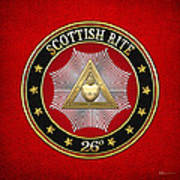 26th Degree - Prince Of Mercy Or Scottish Trinitarian Jewel On Red Leather Poster