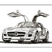 Gull Wing Mercedes Benz S L S Gull-wing Poster