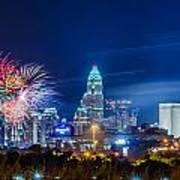 4th Of July Firework Over Charlotte Skyline Poster by Alex Grichenko