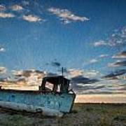 Abandoned Fishing Boat Digital Painting Poster