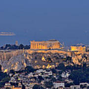 Acropolis Of Athens During Sunrise Poster