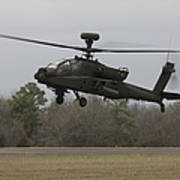 An Ah-64 Apache Helicopter In Midair Poster