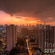 Bangkok City Skyline At Sunset Poster