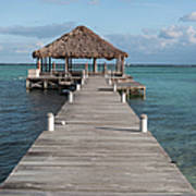 Beach Deck With Palapa Floating In The Water Poster