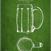Beer Mug Patent From 1876 - Green Poster