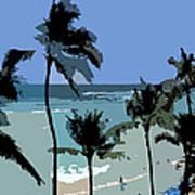 Blue Beach Umbrellas Poster