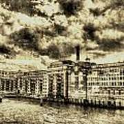 Butlers Wharf London Vintage Poster