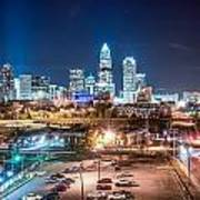 Charlotte City Skyline Night Scene Poster