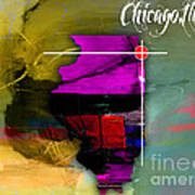 Chicago Illinois Map Watercolor Poster