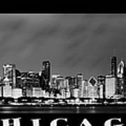 Chicago Skyline At Night In Black And White Poster