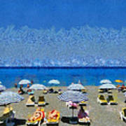 Beach At The City Of Rhodes Poster