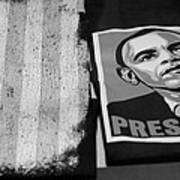 Commercialization Of The President Of The United States Of America In Black And White Poster