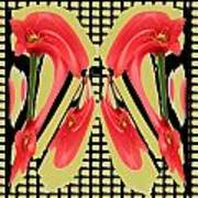 Dancing Tulip Red Exotic Flower Petal Based Wave Pattern  Created By Navinjoshi Reiki Healing Master Poster