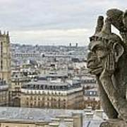 Gargoyle Overlooking Paris Poster