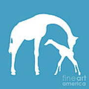 Giraffe In White And Turquoise Poster