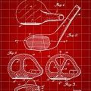Golf Club Patent 1926 - Red Poster