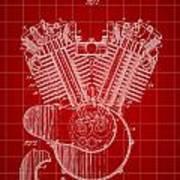 Harley Davidson Engine Patent 1919 - Red Poster