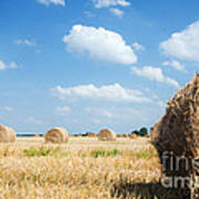 Haystacks In The Field Poster