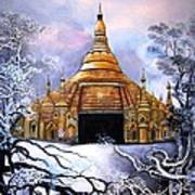 Interpretive Illustration Of Shwedagon Pagoda Poster by Melodye Whitaker