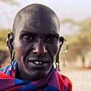 Maasai Man Portrait In Tanzania Poster