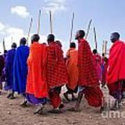 Maasai Men In Their Ritual Dance In Their Village In Tanzania Poster
