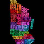 Manhattan New York Typography Text Map Poster