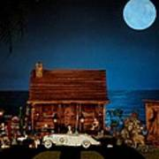 Miniature Log Cabin Scene With The Classic 1936 Mercedes Benz Special Roadster In Color Poster