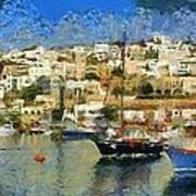 Panoramic Painting Of Mikrolimano Port Poster
