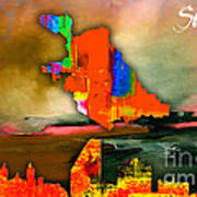 San Jose Map And Skyline Poster