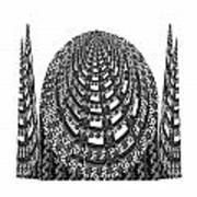 Sparkle Bnw White Pyramid Dome Ancient Arch Architecture Formation Obtained During Deep Meditation W Poster