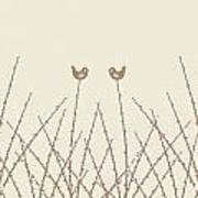 Spring Willow Twig And Birds Poster
