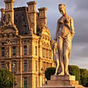 Statue Below Musee Du Louvre Poster
