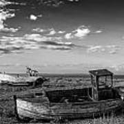 Stunning Black And White Image Of Abandoned Boat On Shingle Beac Poster