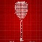 Tennis Racket Patent 1887 - Red Poster