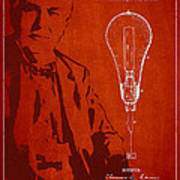 Thomas Edison Incandescent Lamp Patent Drawing From 1890 Poster by Aged Pixel