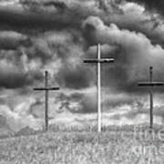 Three Crosses On Hill Poster