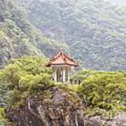 Traditional Pavillion Atop Cliff Poster